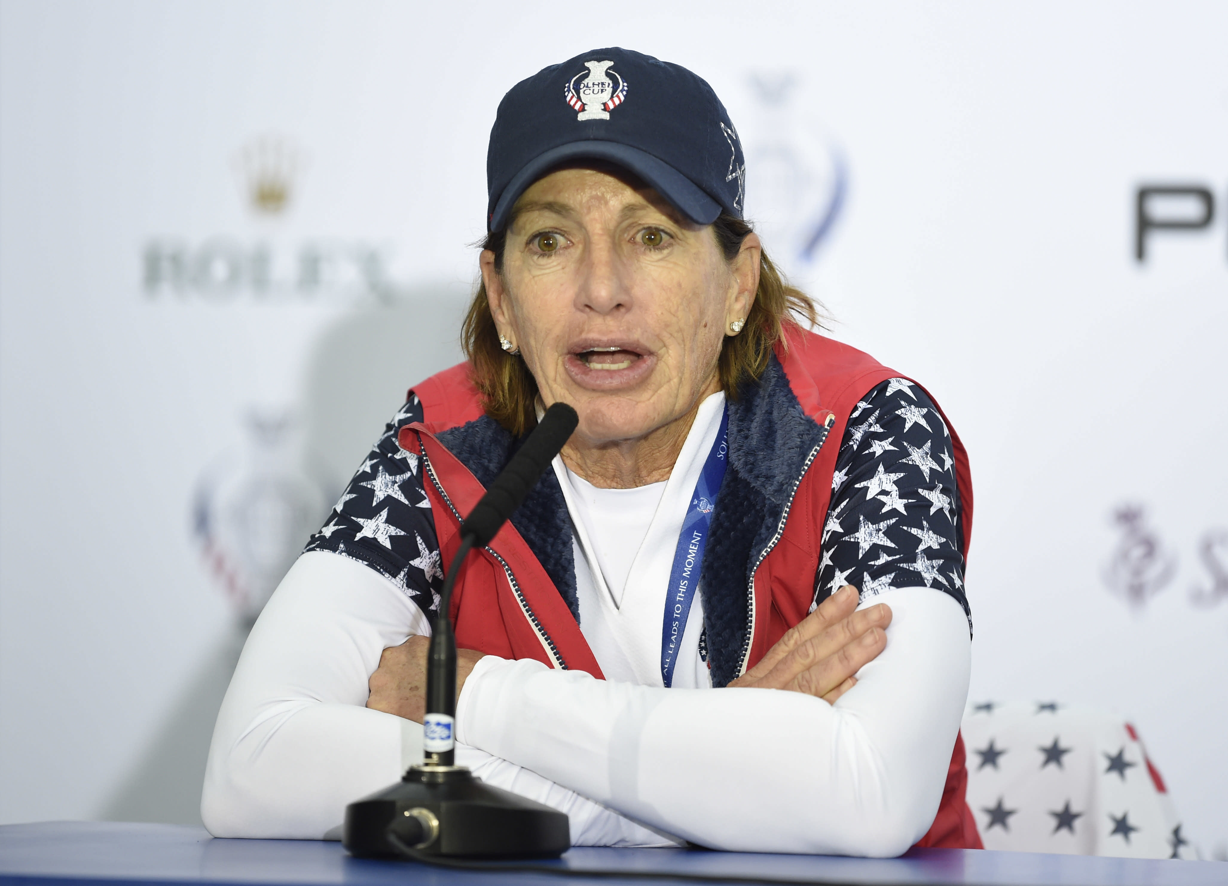 Team USA captain Juli Inkster speaks during a press conference after the singles match on day three of the 2019 Solheim Cup at Gleneagles Golf Club, Auchterarder, Scotland, Sunday Sept. 15, 2019. (Ian Rutherford/PA via AP)