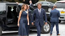 Melania Trump Wears Calvin Klein for Concert Outing During NATO Summit, Elie Saab for Evening Festivities
