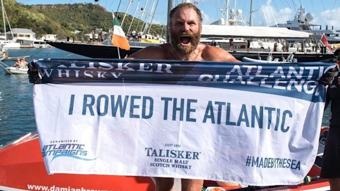 Rugby player Damian Browne completes solo row across Atlantic Ocean