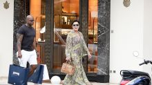 Kris Jenner Wears Gold Thong Sandals Vacationing in St. Barths