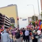 Pro-Armenia Protesters Rally Outside Azerbaijan Consulate in Los Angeles