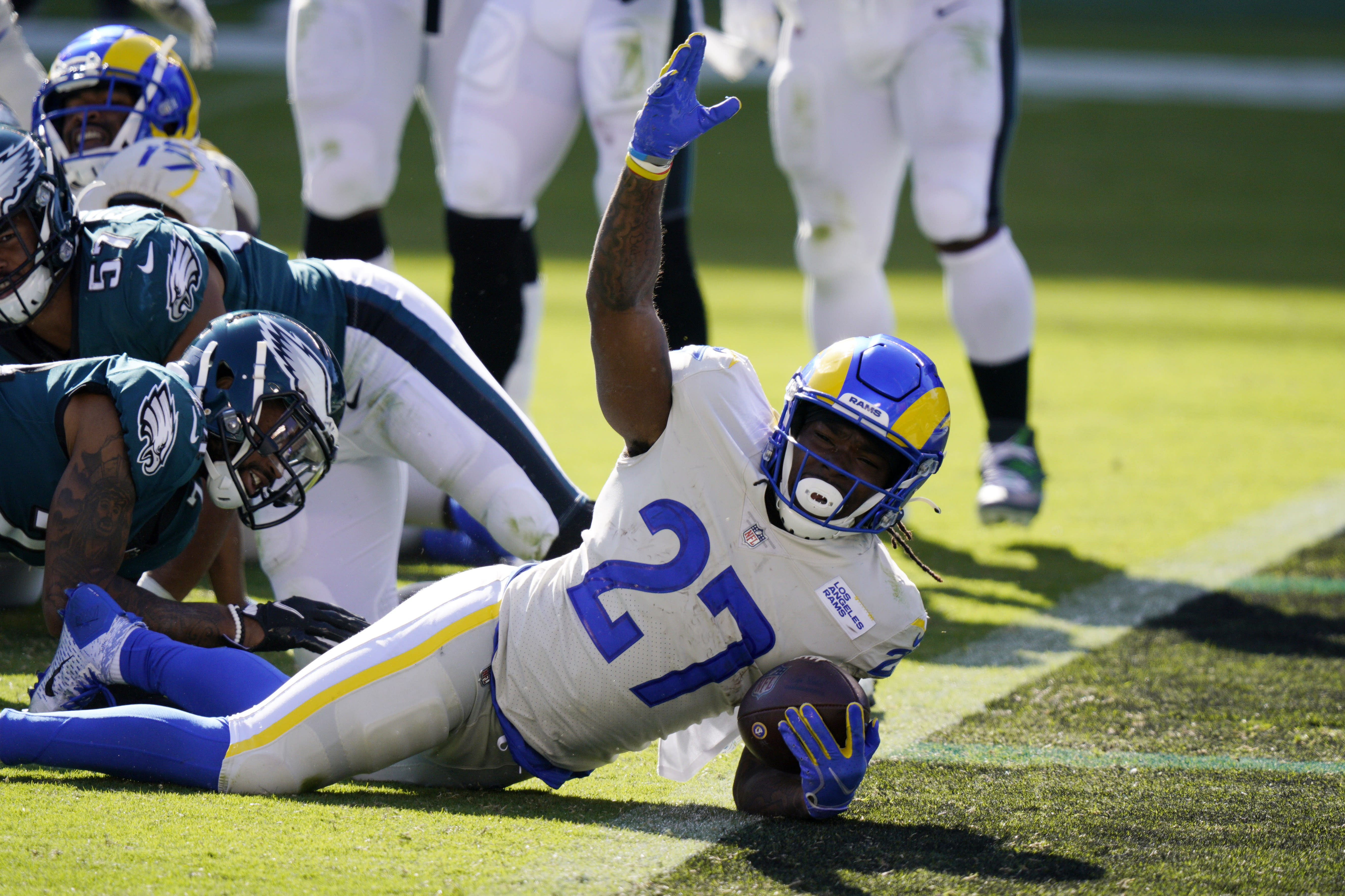 Los Angeles Rams' Darrell Henderson reacts after scoring a touchdown during the second half of an NFL football game against the Philadelphia Eagles, Sunday, Sept. 20, 2020, in Philadelphia. (AP Photo/Chris Szagola)