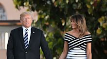 Melania Trump stuns in £2,100 Carolina Herrera off-the-shoulder dress