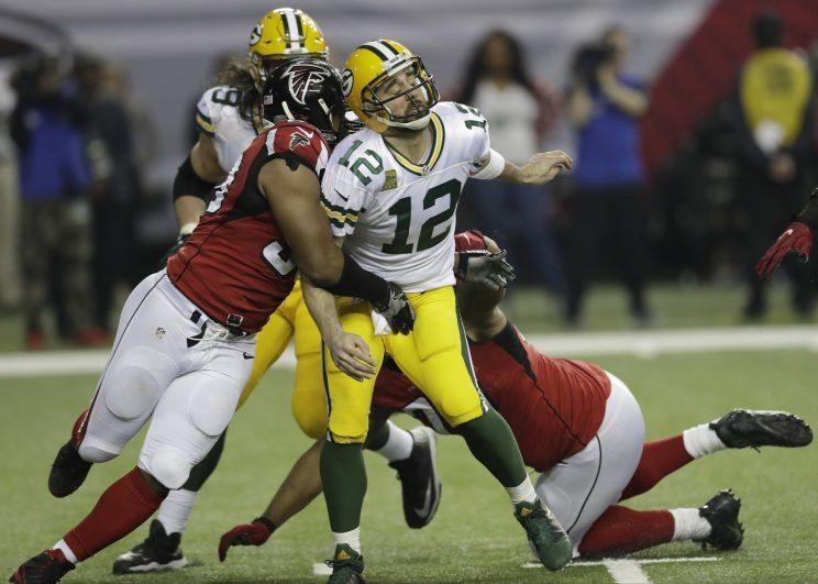 Image result for falcons blast aaron rodgers nfc championship game