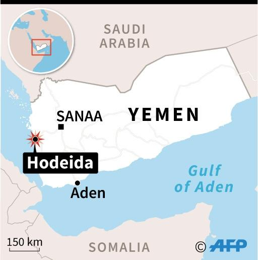 Map of Yemen locating Hodeida where dozens of Yemeni rebels have been killed in battles and air strikes (AFP Photo/AFP)