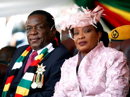 FILE PHOTO: Zimbabwe's President Emmerson Mnangagwa and his wife Auxillia look on during his inauguration ceremony in Harare, Zimbabwe, August 26, 2018. REUTERS/Philimon Bulawayo/File Photo