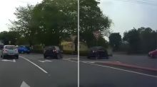 Shocking moment P-plater turns the wrong way at a roundabout
