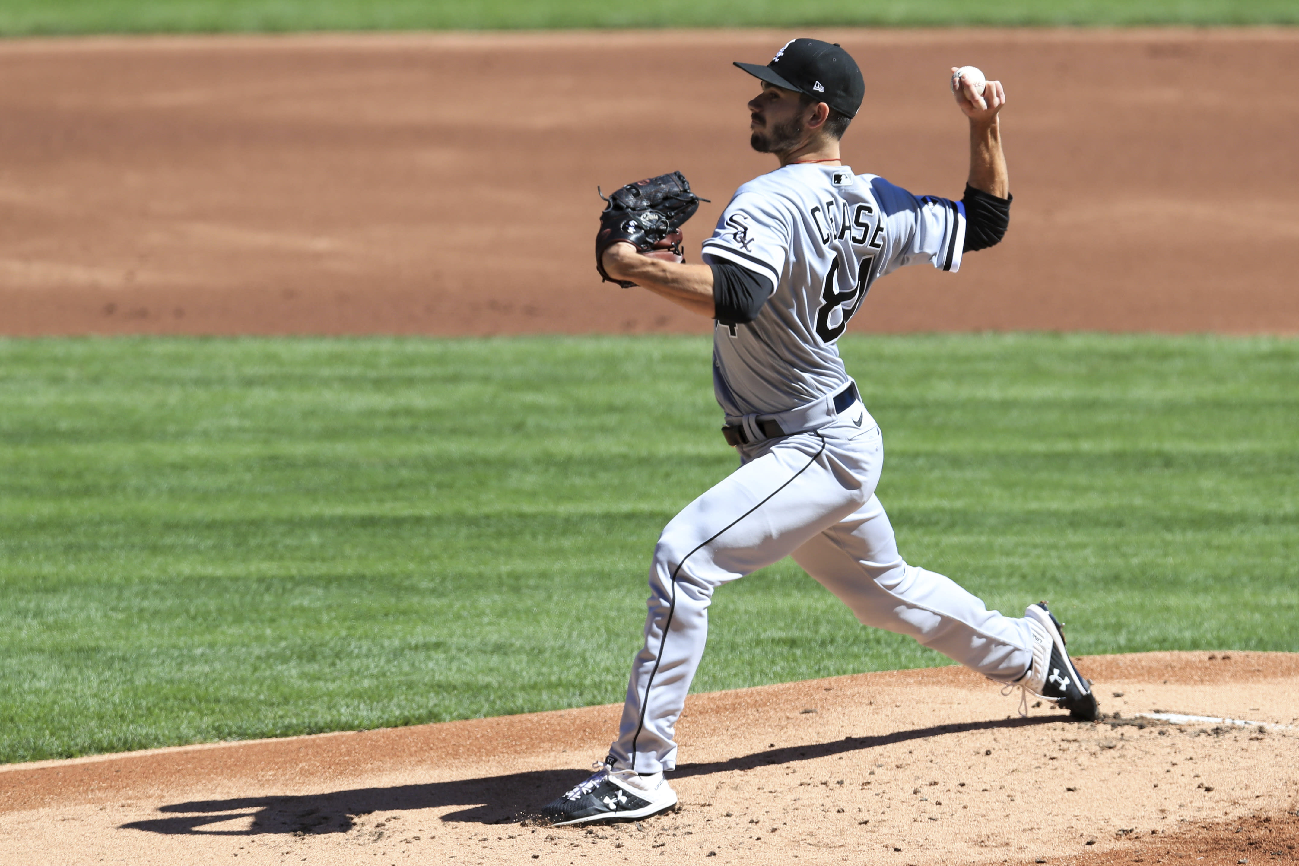 Chicago White Sox' Dylan Cease throws in the first inning during a baseball game against the Cincinnati Reds in Cincinnati, Sunday, Sept. 20, 2020. (AP Photo/Aaron Doster)