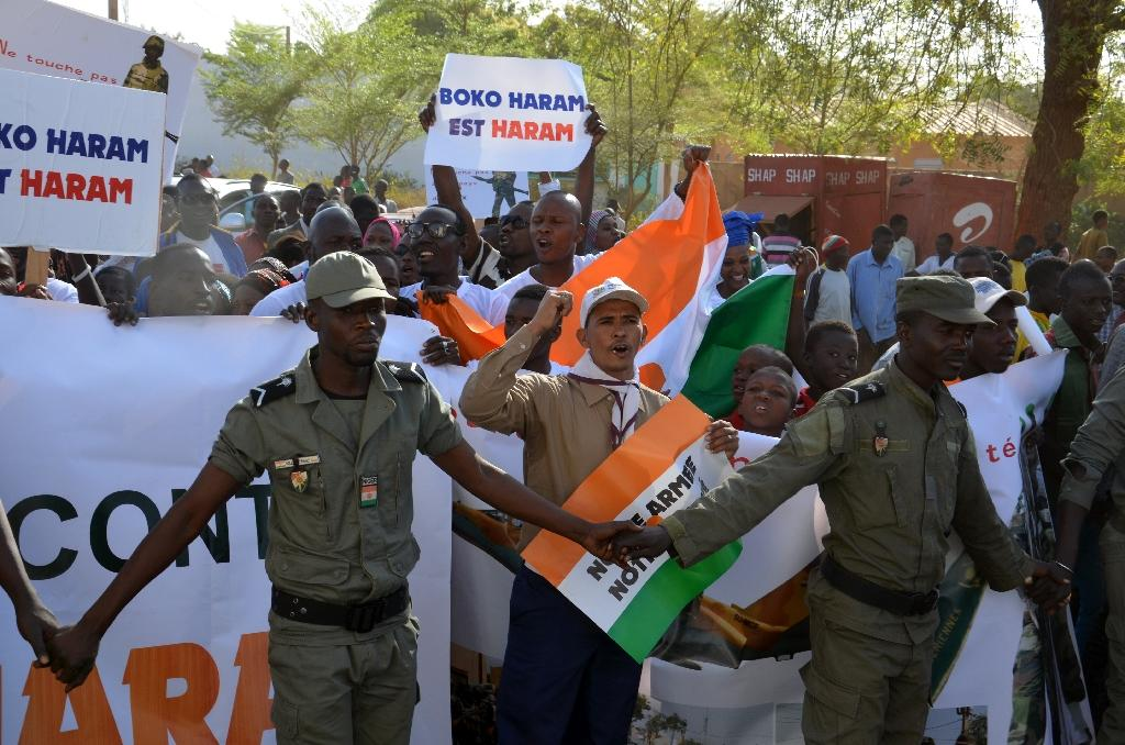 File picture shows a demonstration in the Niger capital Niamey against deadly raids by Boko Haram
