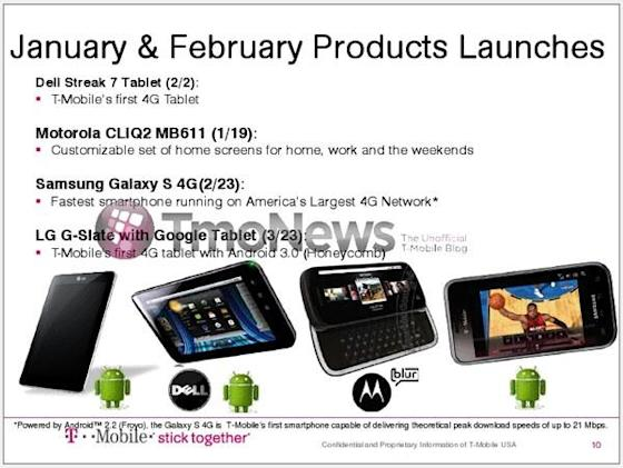 T-Mobile releases: Streak 7 and Galaxy S 4G in February, G-Slate in late March?