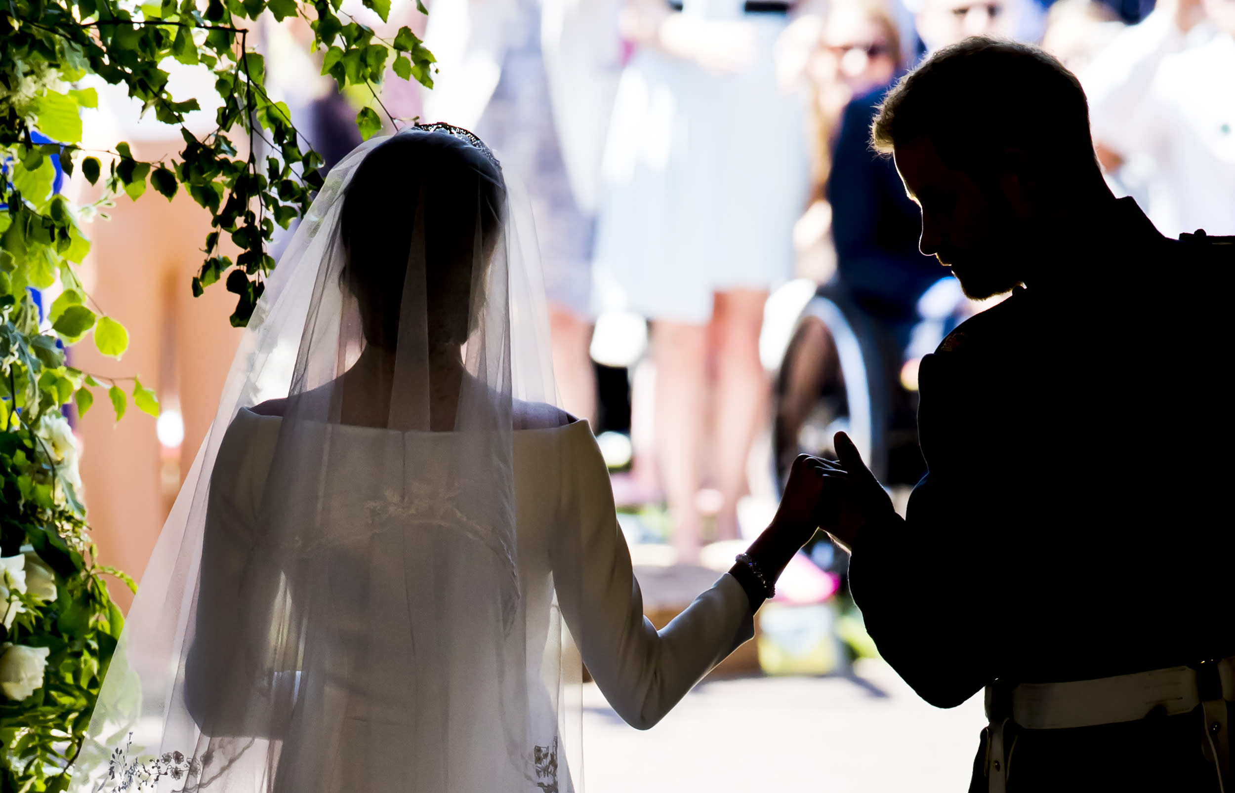 <p>The Duke and Duchess of Sussex on the steps of St George's Chapel at Windsor Castle following their wedding ceremony in St George's Chapel at Windsor Castle on May 19, 2018 in Windsor, England.</p>  <p>(Photo by Danny Lawson - WPA Pool/Getty Images)</p>