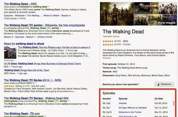 Google search starts listing TV episodes and air dates in results