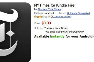 New York Times app now available for Kindle Fire tablets