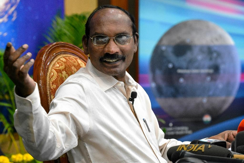 Scientist Kailasavadivoo Sivan gestures during a press conference where he unveiled deails of the country's moon-landing project (AFP Photo/MANJUNATH KIRAN)