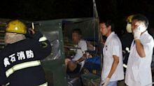 Driver survives after being impaled by four bamboo poles in crash