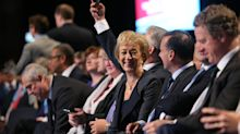 Awkward moment Boris Johnson appears to kiss Andrea Leadsom on the lips during embrace