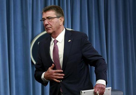 File photo of U.S. Defense Secretary Ash Carter leaves after a news conference at the Pentagon in Washington February 29, 2016. REUTERS/Yuri Gripas
