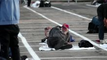 Las Vegas paints lines on cement for homeless to sleep 6 feet apart