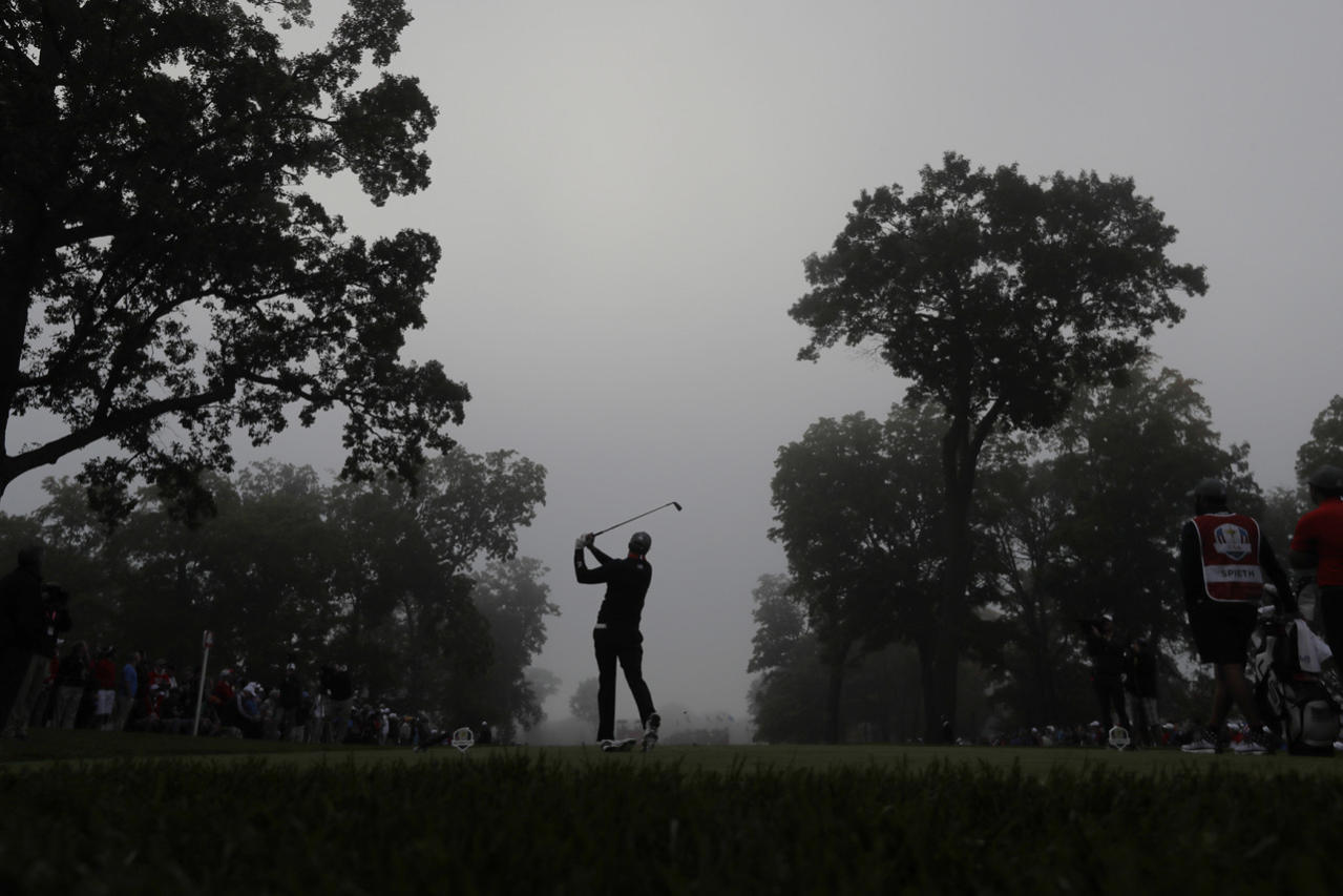 <p>United States' Jordan Spieth hits from the fourth tee during a foresomes match at the Ryder Cup golf tournament, Sept. 30, 2016, at Hazeltine National Golf Club in Chaska, Minn. (Photo: David J. Phillip/AP)</p>