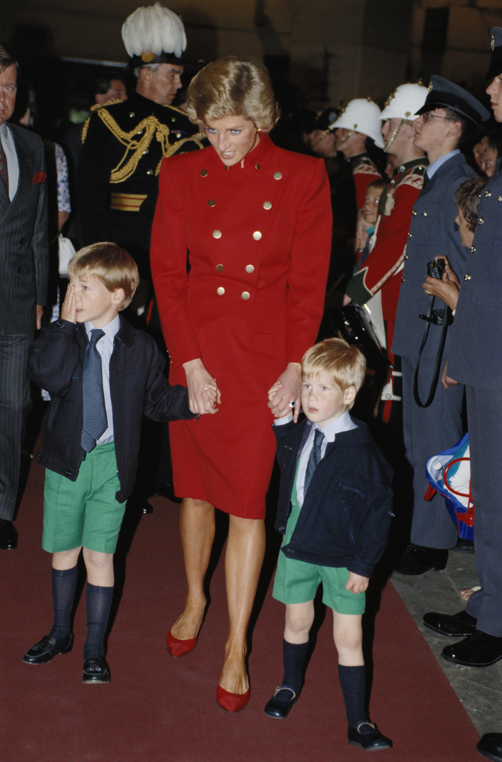 Diana, Princess of Wales (1961-1997), with her sons, Prince William and Prince Harry, at the Royal Tournament, Earls Court, London, England, Great Britain, 28 July 1988. (Photo by Tim Graham/Getty Images)