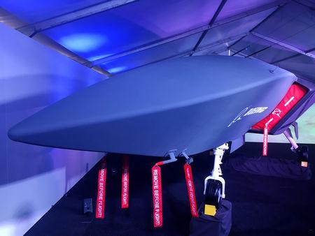 A model of Boeing Co's new unmanned, fighter-like jet, called the Boeing Airpower Teaming System, is displayed in Avalon, Australia February 27, 2019. REUTERS/Jamie Freed