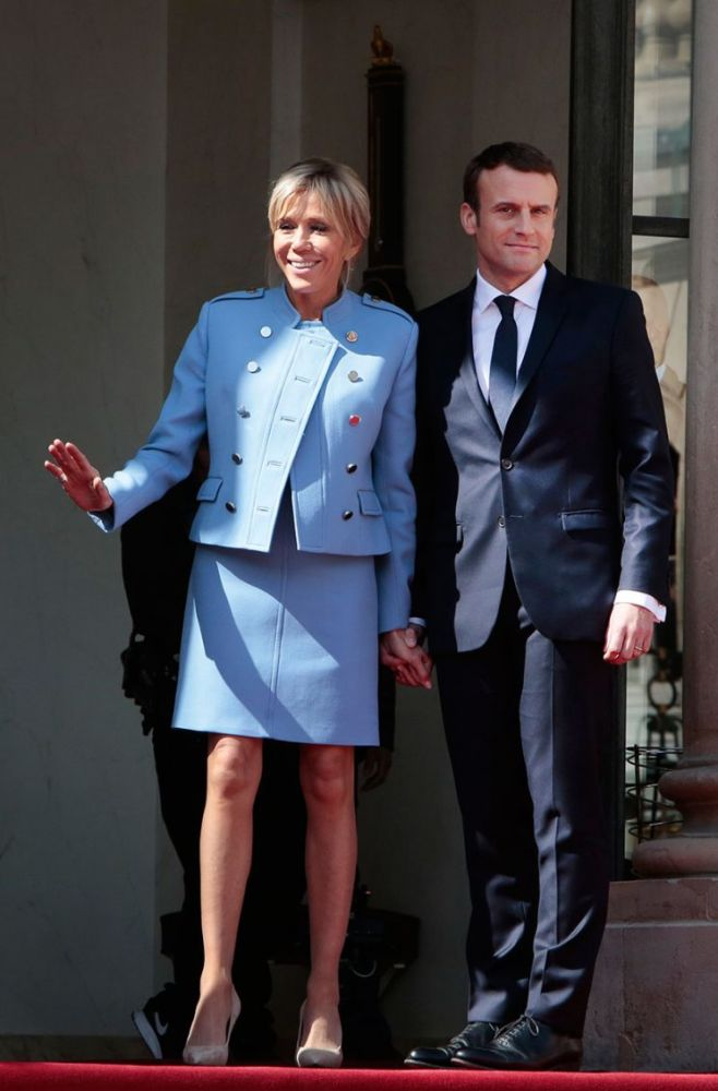 Brigitte and Emmanuel Macron at the French president's inauguration on Sunday