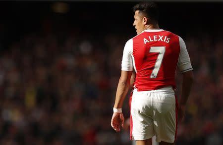 El jugador del Arsenal, Alexis Sánchez, en un partido contra el Manchester City, en el Estadio Emirates.