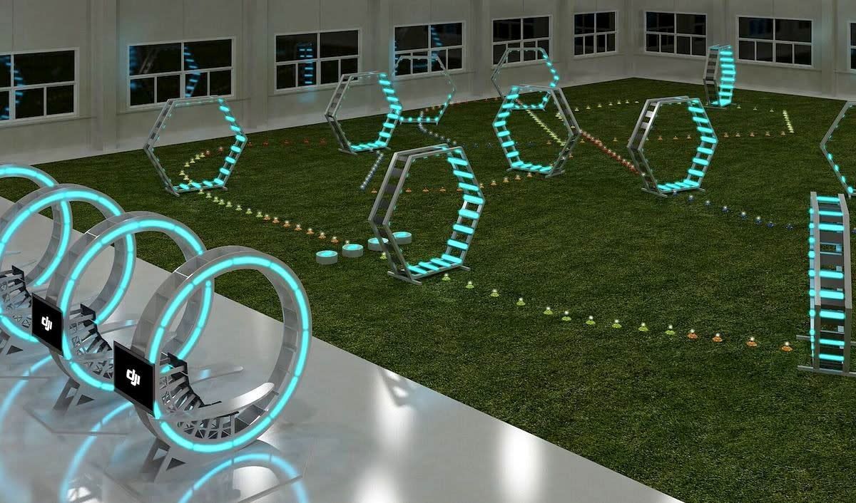 Hone your drone skills with a touch of Tron in this quadcopter arena