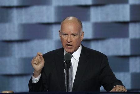 File photo of California Governor Jerry Brown speaking on the third day of the Democratic National Convention in Philadelphia