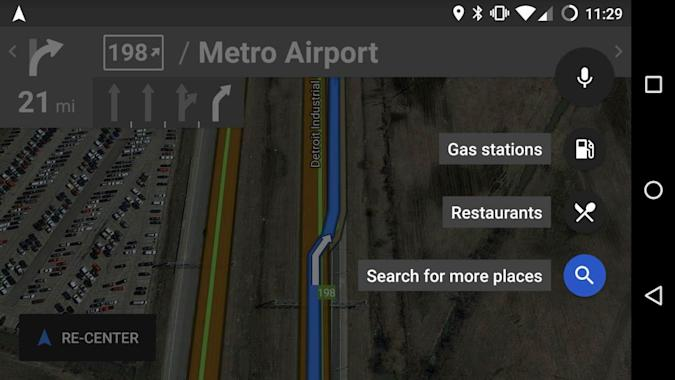 Google Maps for Android displays quick stops along your route