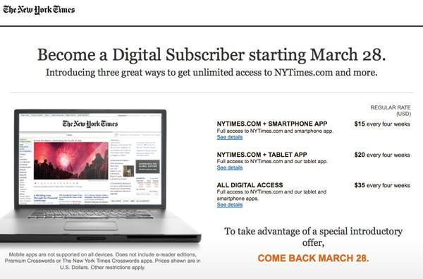 New York Times reveals labyrinthine subscription plans, Canadian readers already hitting paywall