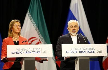 Iranian FM Zarif addresses during a joint news conference with High Representative of the European Union for Foreign Affairs and Security Policy Mogherini after a plenary session at the United Nations building in Vienna