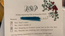 'Entitled rubbish': Bride 'genuinely baffled' by RSVP response