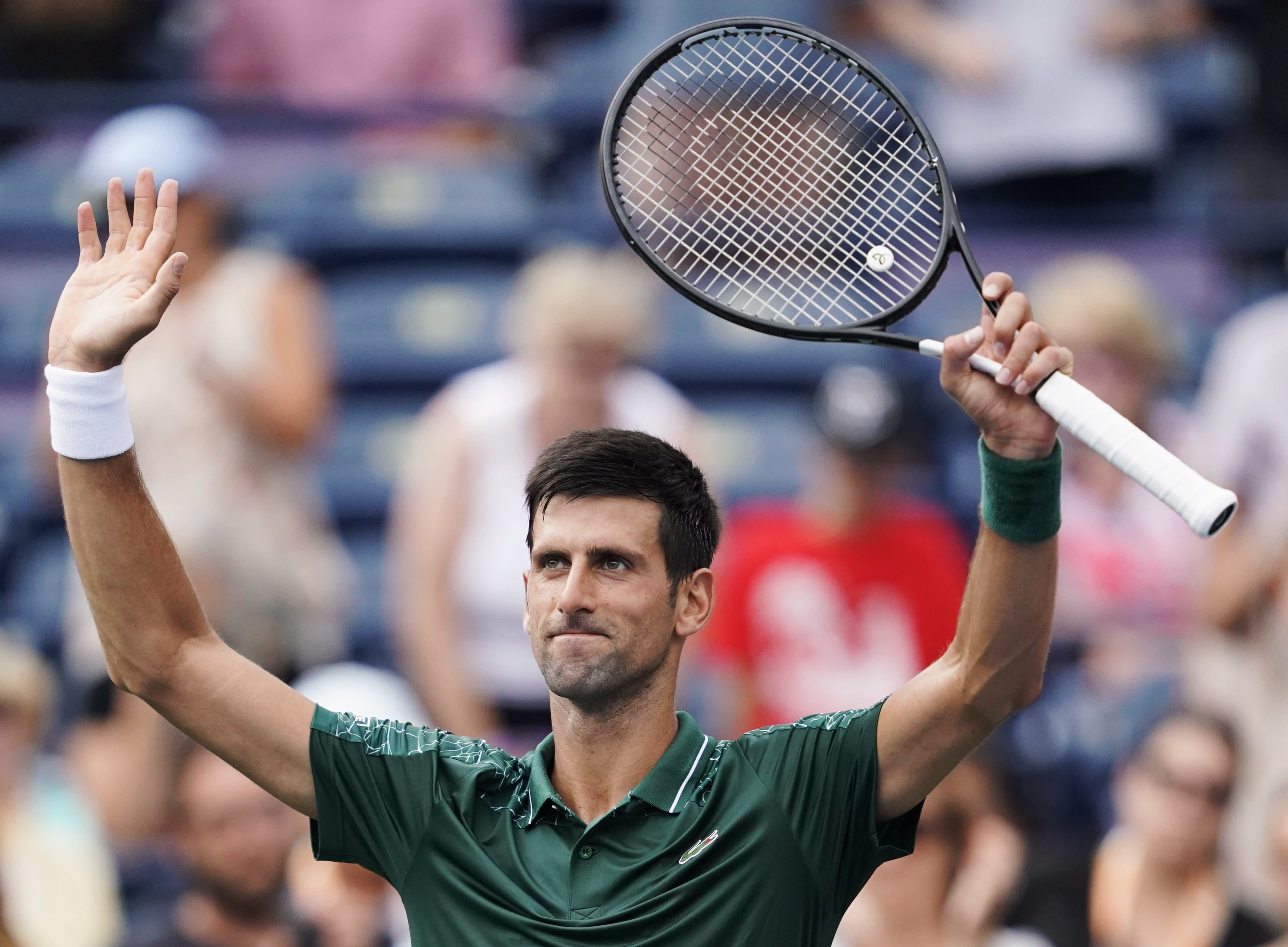 Novak Djokovic, of Serbia, celebrates defeating Peter Polansky, of Canada, at the Rogers Cup men's tennis tournament in Toronto, Wednesday, Aug. 8, 2018. (Mark Blinch/The Canadian Press via AP)