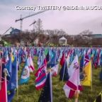 Time lapse of Biden inauguration flags