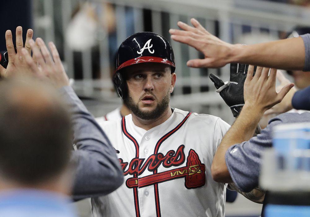 New free agent Matt Adams hit 19 home runs for the Braves in 2017. (AP)