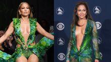 Jennifer Lopez surpreende com vestido icônico dos anos 2000 em desfile