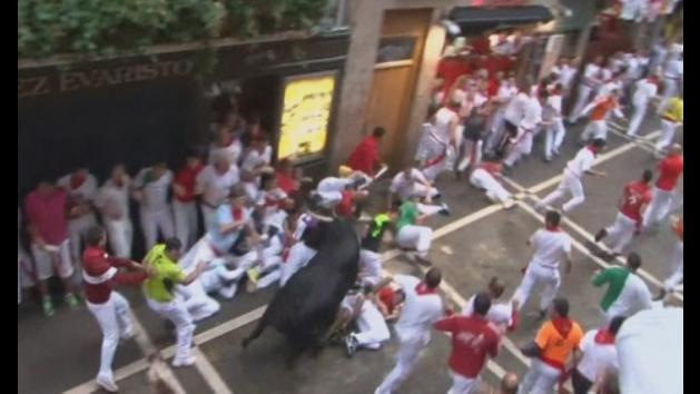 Pamplona bull run enters third day