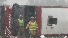 Bus overturns in sleet near Memphis, 2 dead