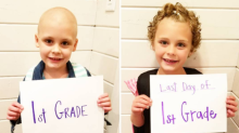 Sweet photo of cancer fighter's first and last day of grade 1 will melt your heart