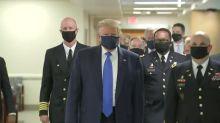 Trump aparece pela primeira vez em público usando máscara