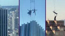 Dos especialistas se juegan la vida entre rascacielos durante el rodaje de 'Matrix 4'