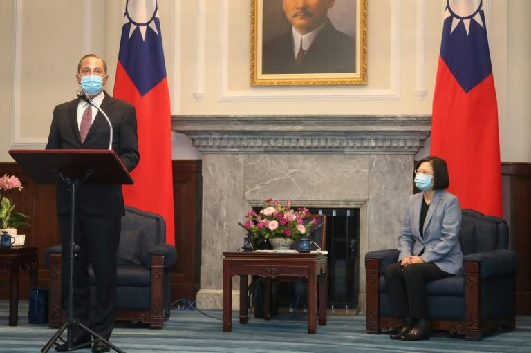 US Health Secrtary Alex Azar (L) met with Taiwan's President Tsai Ing-wen (R) on a visit China has slammed as a threat to peace