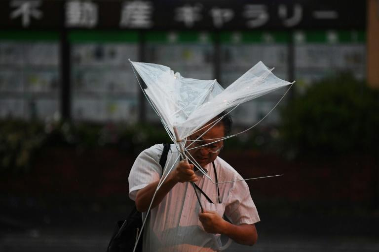 Powerful typhoon triggers blackout in southern Japan