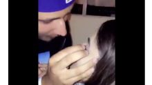 People love this guy who glued his girlfriend's fake eyelashes back on