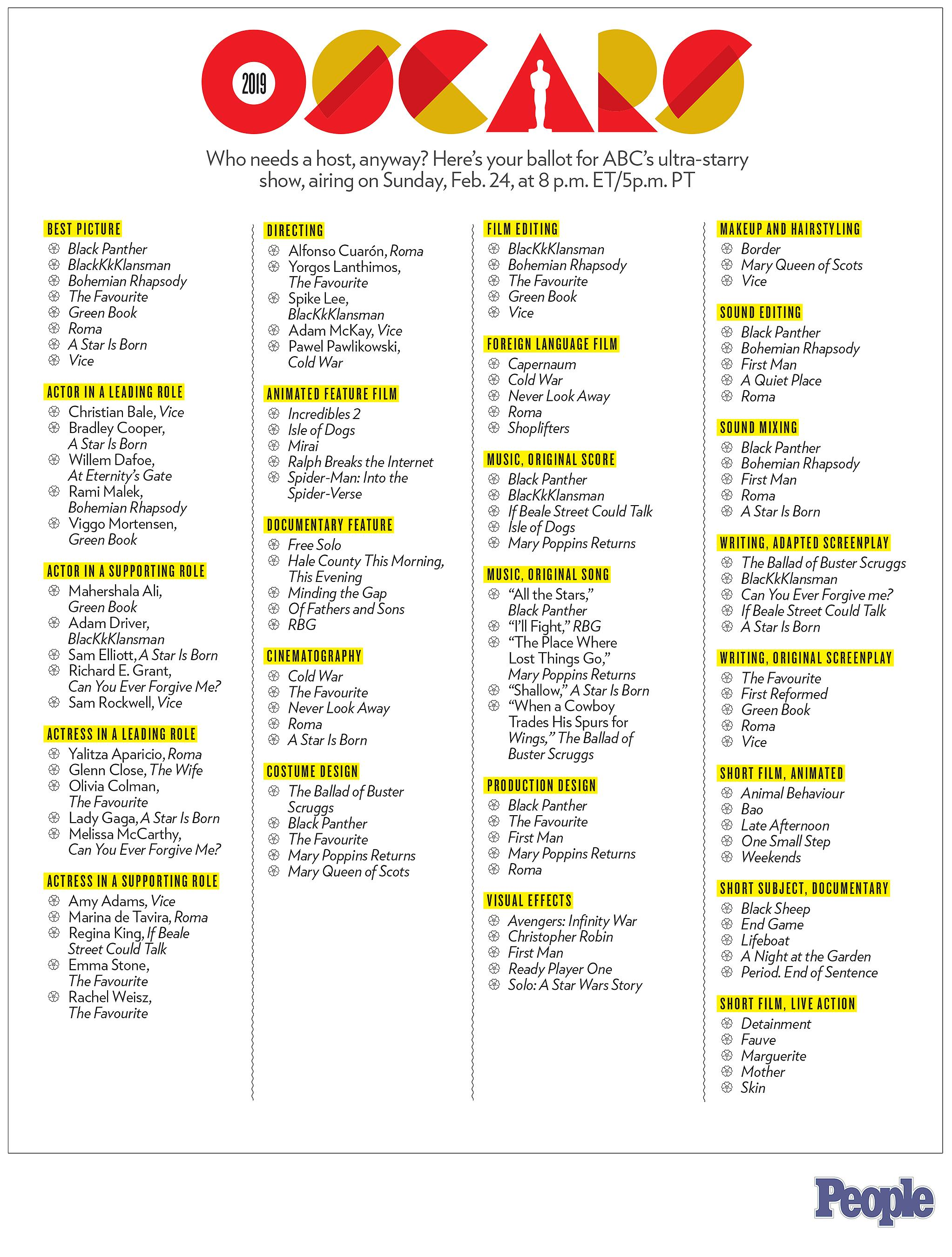It's just an image of Peaceful Oscars 2020 Ballot Printable