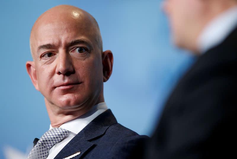 FILE PHOTO - Amazon CEO Jeff Bezos speaks in Washington