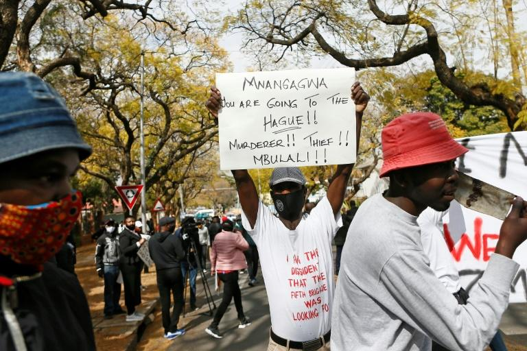 Protesters at the Zimbabwean embassy in South Africa