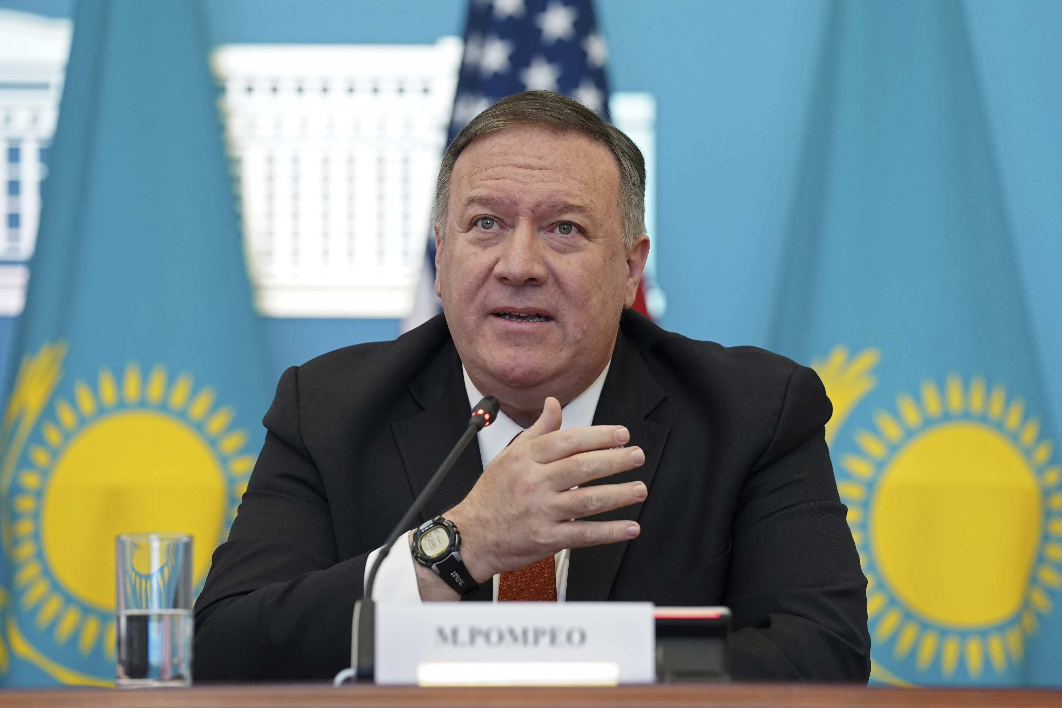 U.S. Secretary of State Mike Pompeo holds a joint news conference with Kazakh Foreign Minister Mukhtar Tleuberdi at the Ministry of Foreign Affairs in Nur-Sultan, Kazakhstan, Sunday, Feb. 2, 2020. (Kevin Lamarque/Pool Photo via AP)