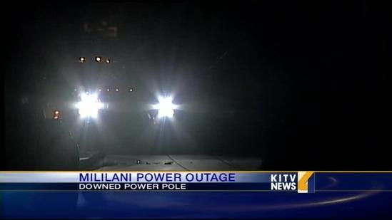 Down utility pole causes Mililani power outage